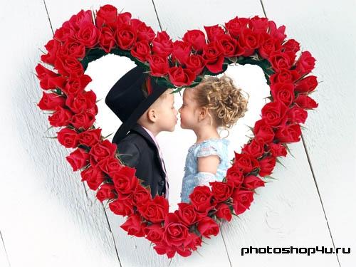 Рамка для влюбленных - сердце из роз