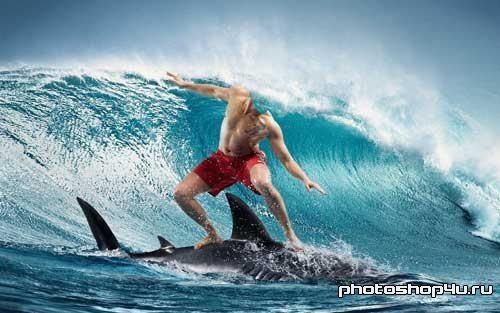 Мужской шаблон для Photoshop - Сёрфинг на дельфине