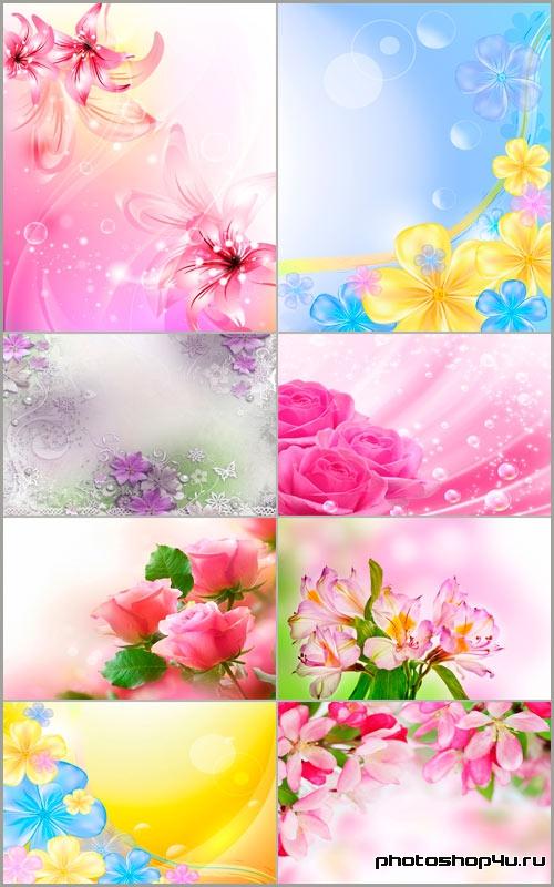 Светлые цветочные фоны для дизайна