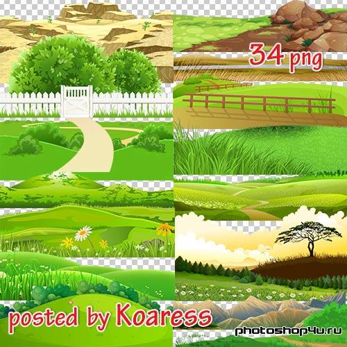 Png клипарт для дизайна - Рисованые элементы пейзажа (часть 1)